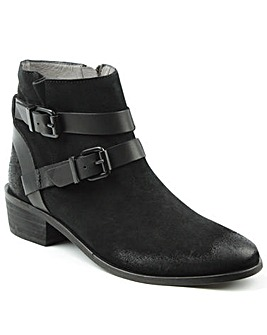 Hudson Black Suede Two Strap Ankle Boot