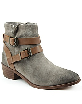 Hudson Grey Suede Two Strap Ankle Boot