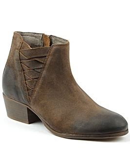 Hudson Brown Woven Block Heel Ankle Boot