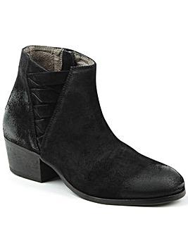 Hudson Black Woven Block Heel Ankle Boot