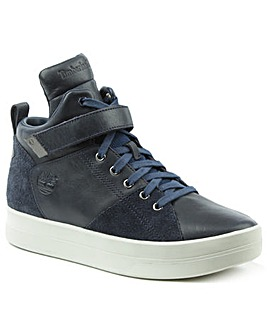 Timberland Navy Leather High Top Trainer