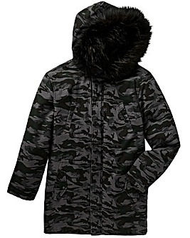 Label J Camo Print Fur Trim Parka R