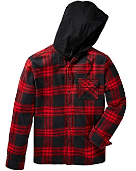 Label J Hood Print Check Shirt Long