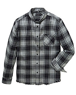 Label J Fray Hem Check Shirt Long
