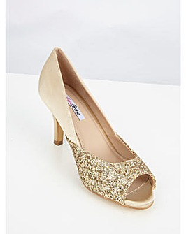 Lovedrobe Satin & Glitter Kitten Heel