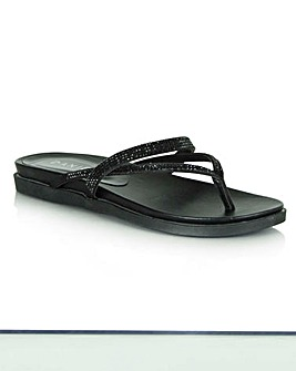 Daniel Black Diamante Toe Post Sandal