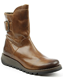 Fly London Tan Buckled Ankle Boot