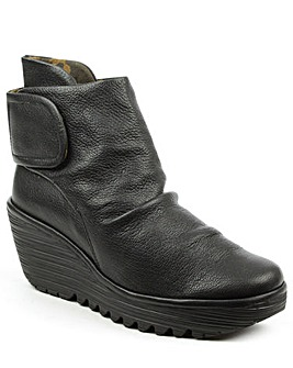 Fly London Black Rouched Ankle Boot