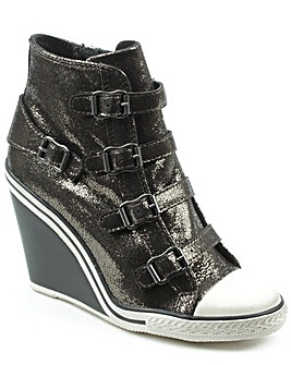 Ash Metallic Leather HiTop Wedge Trainer