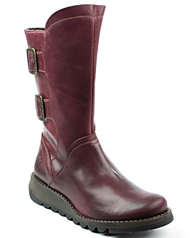 Fly London Purple Low Wedge Calf Boot