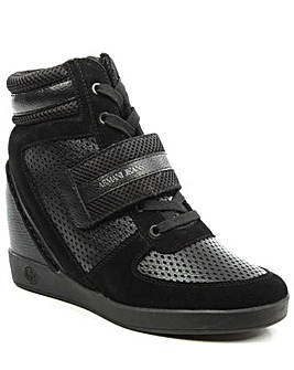 Armani Jeans Black Wedge HighTop Trainer