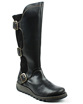 Fly London Black Low Wedge Knee Boot