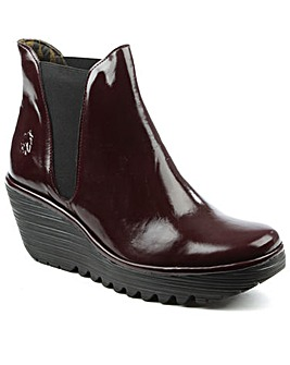 Fly London Burgundy Wedge Chelsea Boot