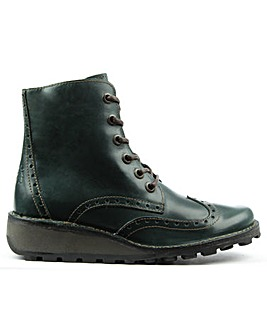 Fly London Green Leather Ankle Boot