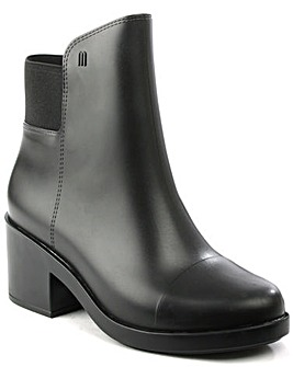 Melissa Black Block Heel Rainboot