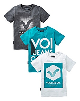 VOI Boys Printed Pack of Three T-Shirts