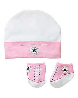 Converse Baby Hat and Bootie Set