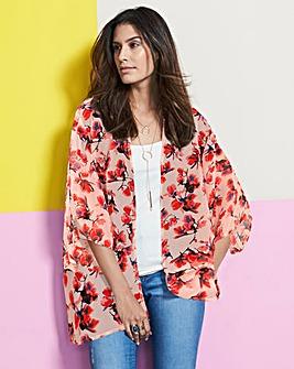 Pink Floral Printed Kimono