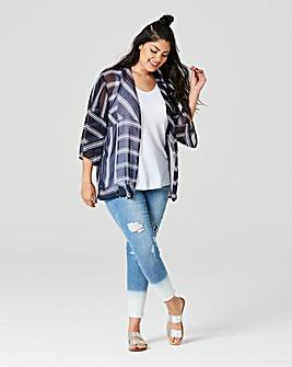 Indigo Stripe Boxy Kimono