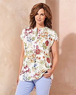 Floral Placket Pleat Front Blouse