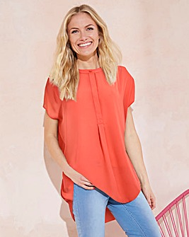 Coral Placket Pleat Front Blouse