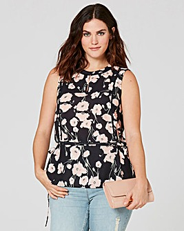Floral Ladder Insert Top With Peplum Hem