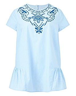 Stripe Embroidered Blouse With Peplum