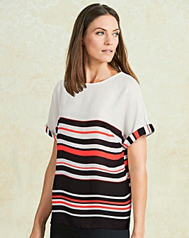 Multi Stripe Drop Sleeve Shell Top