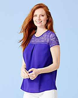 Lace Yoke Blouse With Ladder Insert