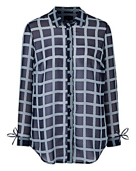 Navy Check Printed Shirt