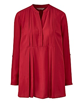 Cranberry Pleat Front Blouse