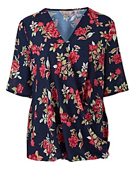 Navy Print Short Sleeve Wrap Blouse