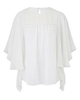 Ivory Drape Sleeve Blouse