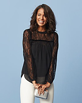 Black Lace Insert Blouse
