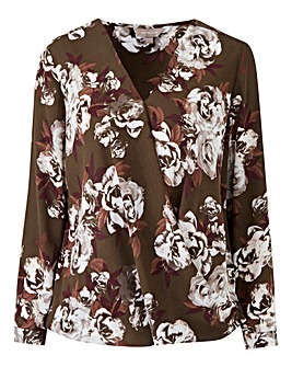 Rose Floral Bubble Hem Wrap Blouse