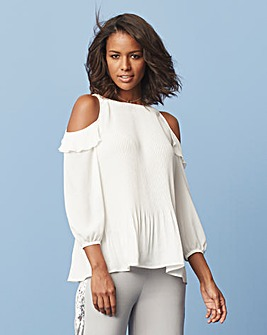 Ivory Pleated Cold Shoulder Blouse