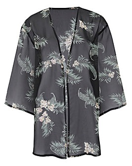 Black Print Boxy Kimono