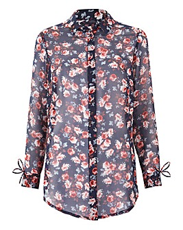 Navy Floral Printed Shirt