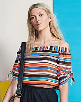 Stripe Bardot Blouse with Tie Sleeve