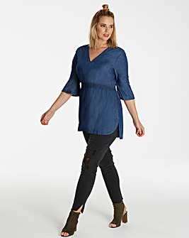 Lyocell Denim V Neck Tunic