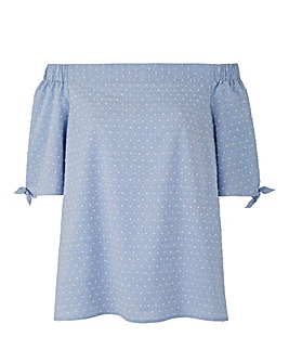Chambray Bardot Blouse With Tie Sleeves