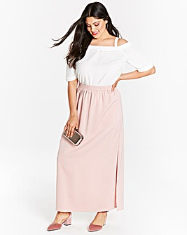 White Cold Shoulder Top With Flat Frill