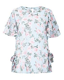 Floral Blush Tie Side Blouse