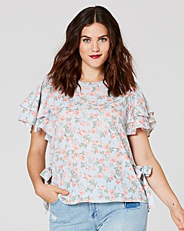 Floral Print Tie Side Blouse