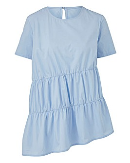 Soft Blue Ruched Shell Top