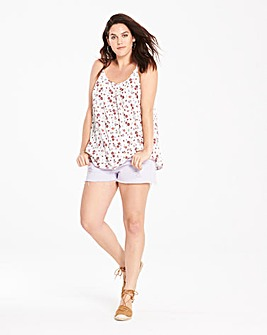 Ivory Print Strappy Cami Top