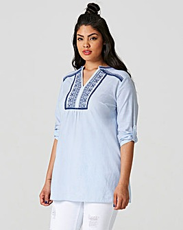 Roll Up Sleeve Tunic with Emb Front