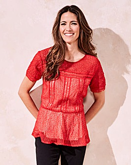 Red Lace Peplum Blouse