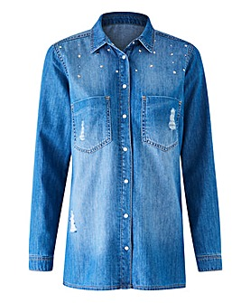 Studded Distressed Denim Shirt