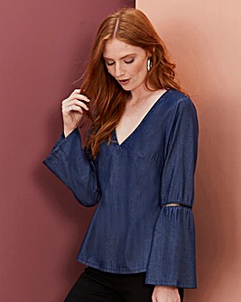 FLUTED SLEEVE LYOCELL DENIM TOP
